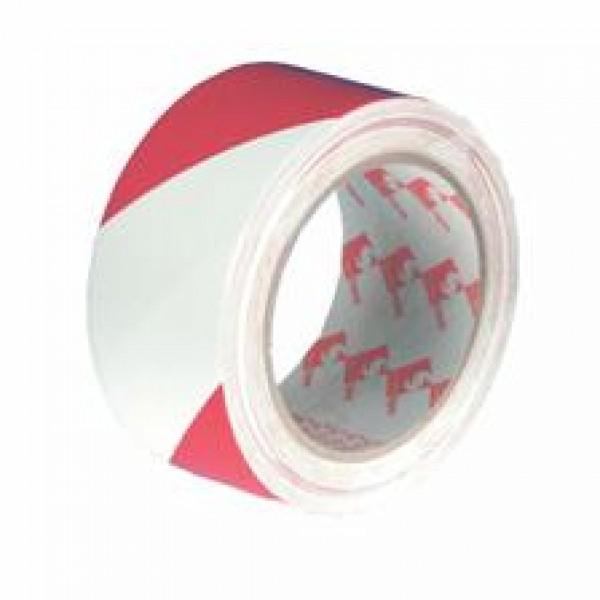 Hazard Warning Lane Marking Tape - Red / White